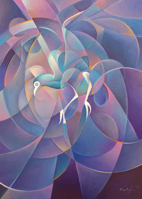 """""""Il pavone"""" - Olio su tela, 50 x 70 cm (2019)"""