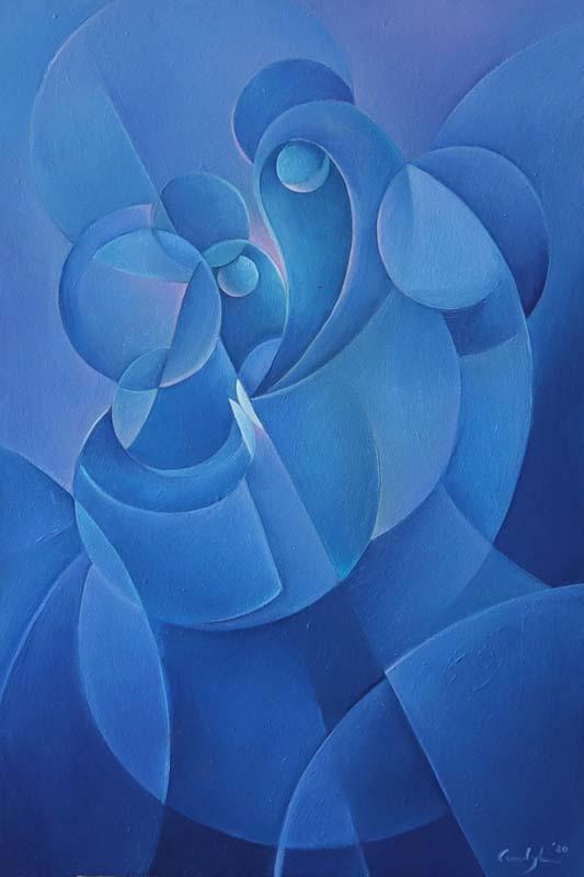 """""""Labbraccio"""" - Olio su tela, 40 x 60 cm (2020) COLLEZIONE PRIVATA"""