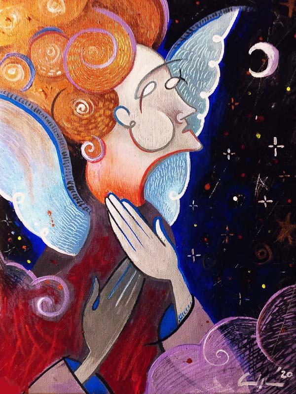 """""""L'angelo del Covid"""" - Acrilico su tela, 40 x 60 cm (2020)"""