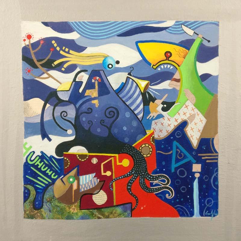 """""""Shark attack"""" - Acrilico su tavola, 49 x 49 cm (2010)"""