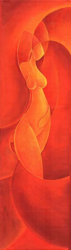 """Kundalini arancio"" -  Acrilico su tela, 40 x 140 cm (2011)"