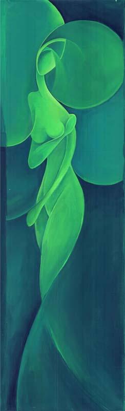 """Kundalini verde"" -  Acrilico su tela, 40 x 140 cm (2011)"