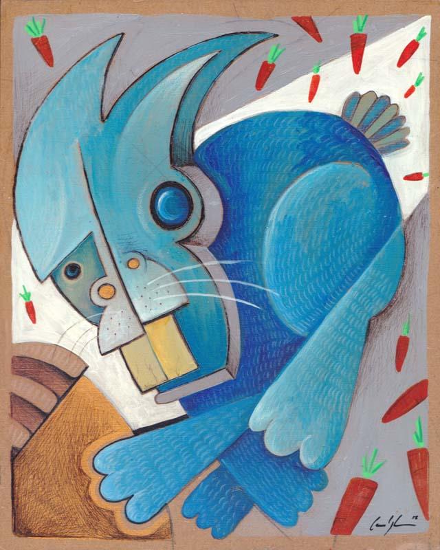 """""""Coniglietto radioattivo"""" - Acrilico su tavola, 20 x 25 cm (2015)"""