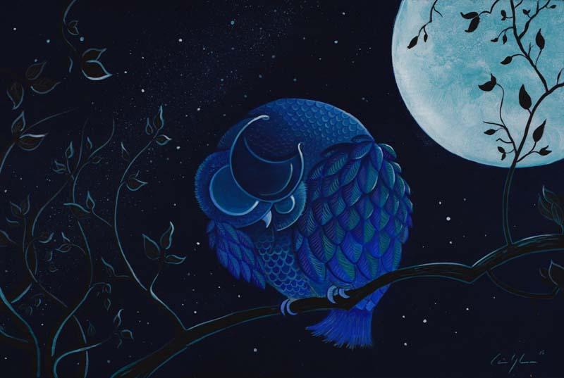 """""""Gufo Placido Okinawense"""" - Acrilico su tavola, 40 x 60 cm (COLLEZIONE PRIVATA)"""