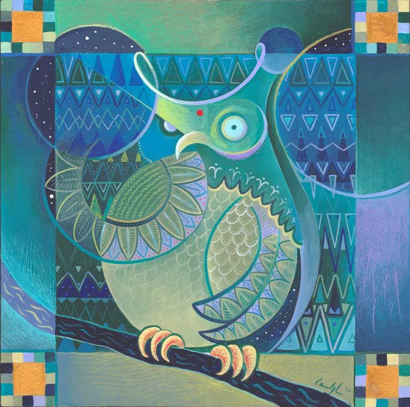 """""""Astrogufo Indiano"""" - Acrilico su tavola, 40 x 40 cm (COLLEZIONE PRIVATA)"""