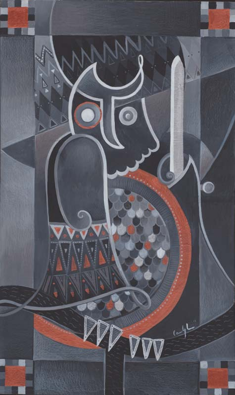 "Gufo Veritas"" - Acrilico su tavola, 36 x 60,5 cm"
