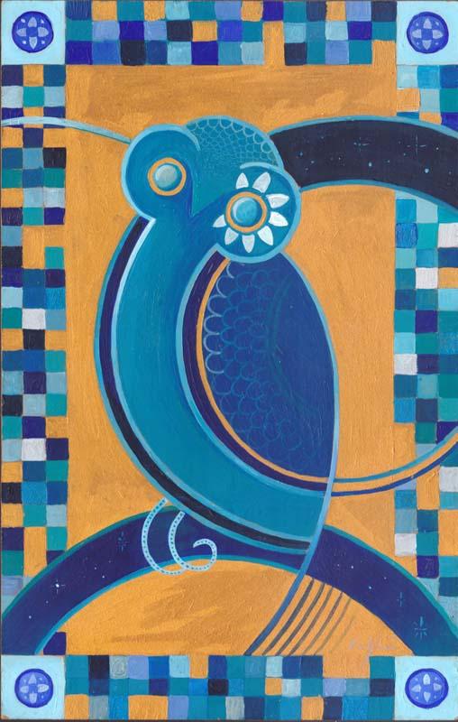 """""""Civetta ellenica blu"""" - Acrilico su tavola, 23,5 x 37 cm"""