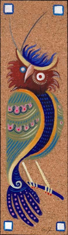 """""""Gufo tagula 1"""" - Acrilico su foglio di sugherio, 7,5 x 26 cm"""