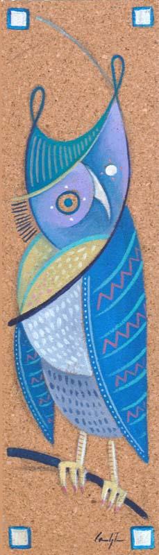 """""""Gufo tagula 2"""" - Acrilico su foglio di sugherio, 7,5 x 26 cm"""