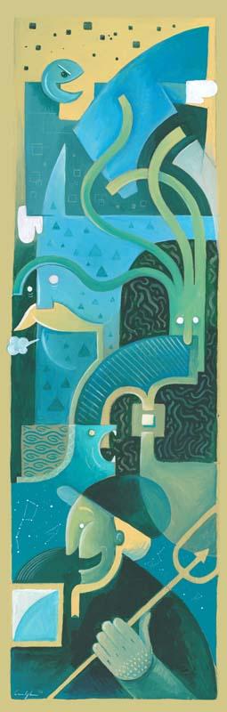 """""""I sogni del pescatore"""" - Acrilico su tavola, 62,5 x 20 cm (2015)"""