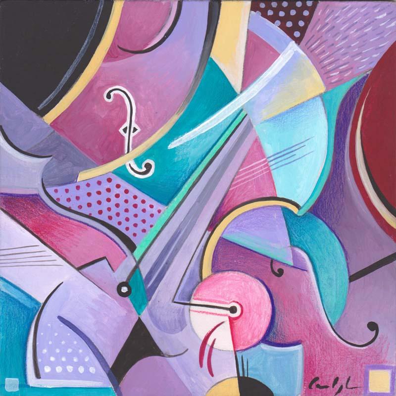 """""""Assolo di viola"""" - Acrilico su tavola, 20 x 20 cm (2016)"""