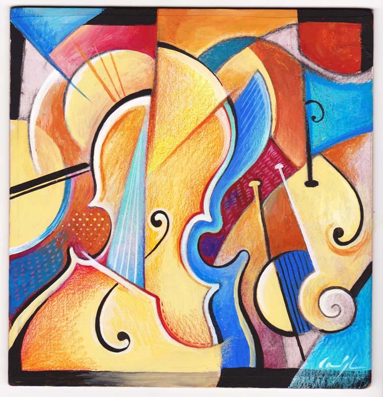 """""""Assolo di cello"""" - Acrilico su tavola, 20 x 20 cm (2016)"""