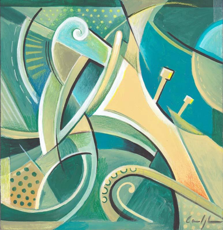 """""""Assolo di tromba"""" - Acrilico su tavola, 20 x 20 cm (2016)"""