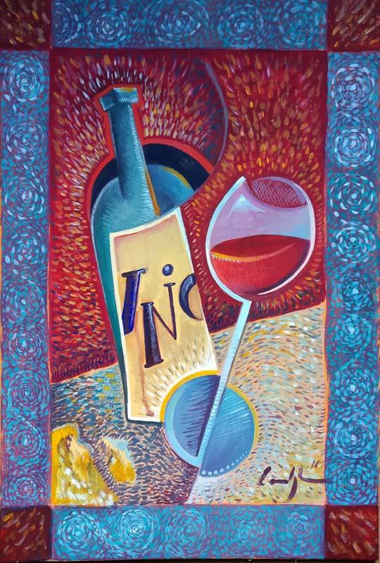 """Vino divino"" - Acrilico su tela, 40 x 60 (2016)"