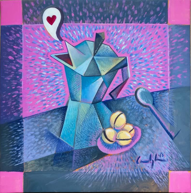 """Caffè al bacio"" - Acrilico su tela, 30 x 30 (2016)"