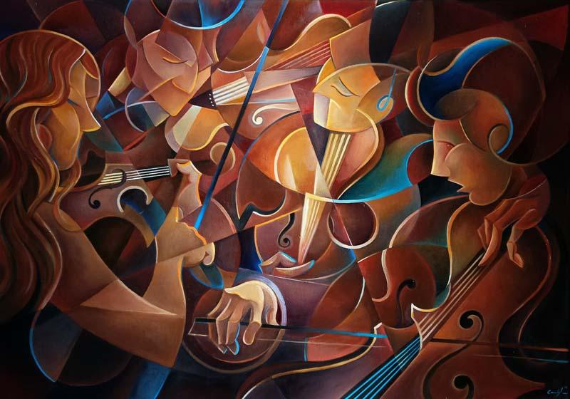 """""""Il quartetto di Beethoven"""" - Olio su tela, 70 x 100 cm (2016) COLLEZIONE PRIVATA"""