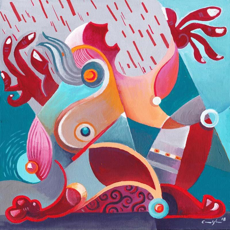 """""""Pioggia di sangue"""" - Acrilico su tela. 30 x 30 cm (2018)"""
