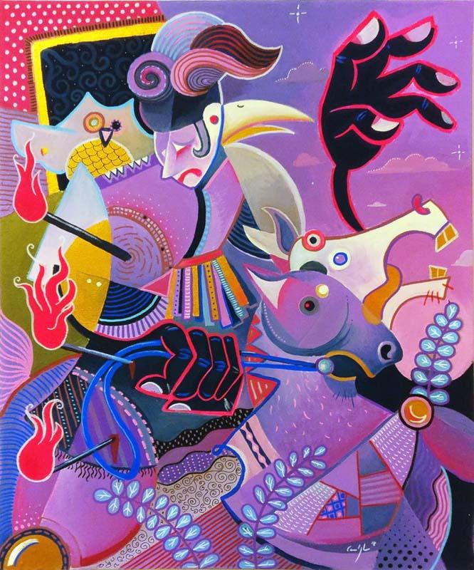 """""""Il cavaliere viola"""" - Acrilico su tela. 50 x 60 cm (2018)"""