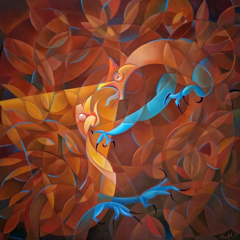 """La lotta dei galli"" - Olio su tela, 100 x 100 cm (2018)"