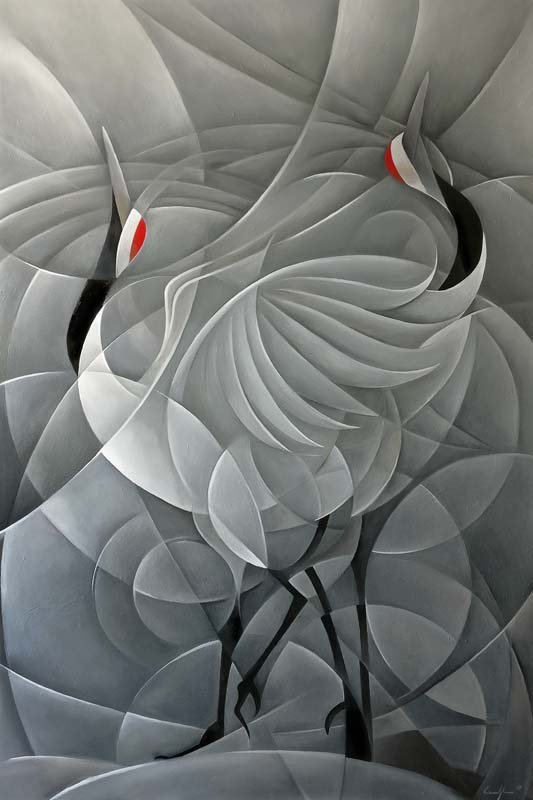 """""""La danza delle gru"""" - Olio su tela, 100 x 150 cm (2019)"""