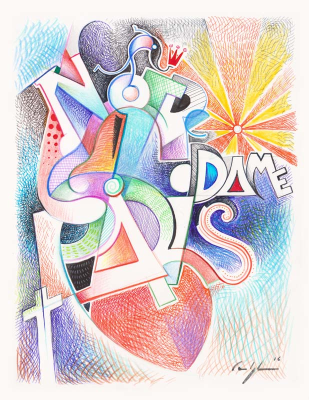 """""""Notre dame de Paris"""" Tecniche miste su carta (D-2016-6)"""