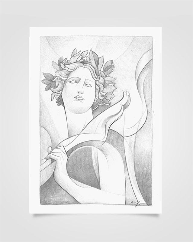 """Arcangelo Raphael"" Disegno a matita su carta (2020)"
