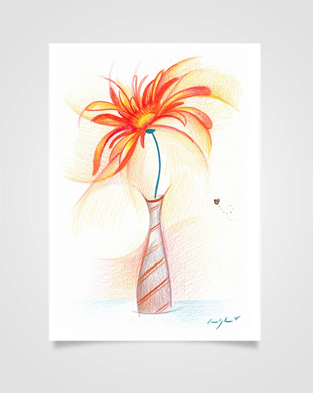 """""""Flora - Calendula"""" Pastelli su carta, 14,8 x 21cm"""