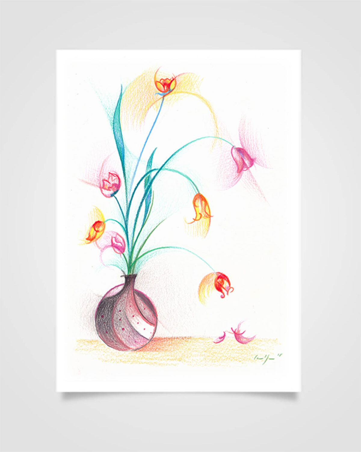 """Flora - Campanelle"" Pastelli su carta, 14,8 x 21cm"