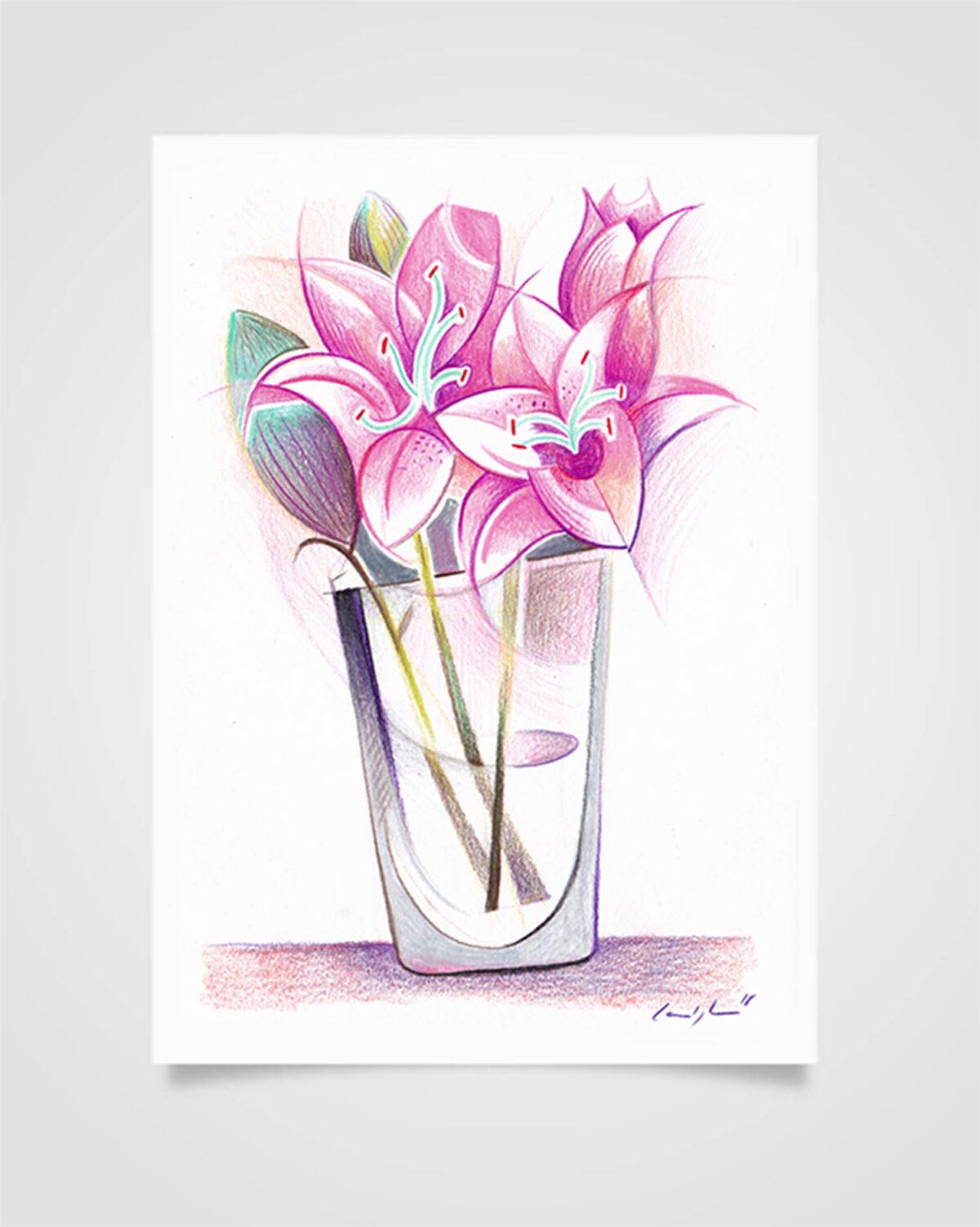 """""""Flora - Gigli"""" Pastelli su carta, 14,8 x 21cm"""