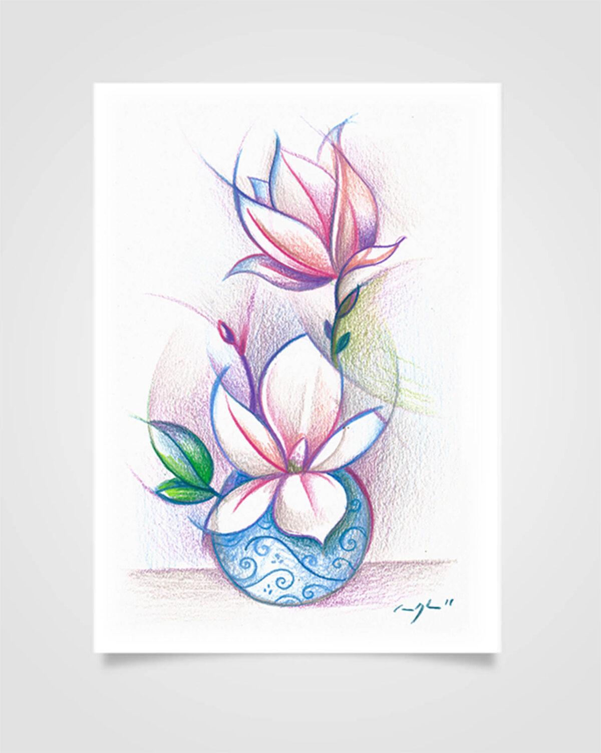 """""""Flora - Magnolia"""" Pastelli su carta, 14,8 x 21cm"""