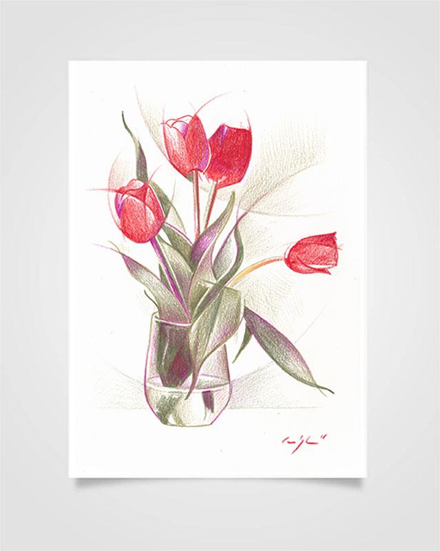 """""""Flora - Tulipani rossi"""" Pastelli su carta, 14,8 x 21cm"""