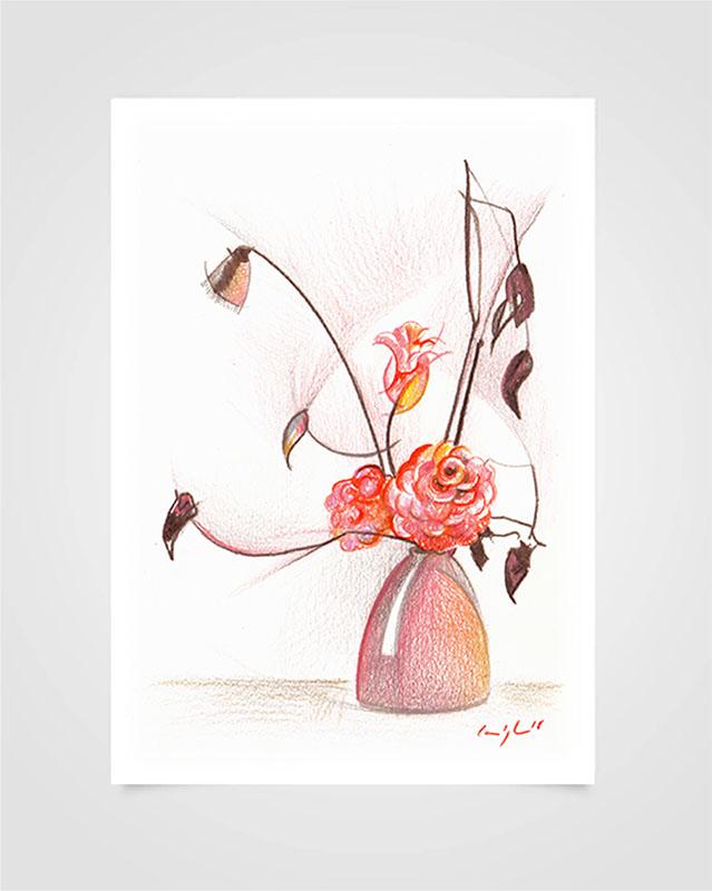 """""""Flora - Rosa"""" Pastelli su carta, 14,8 x 21cm"""