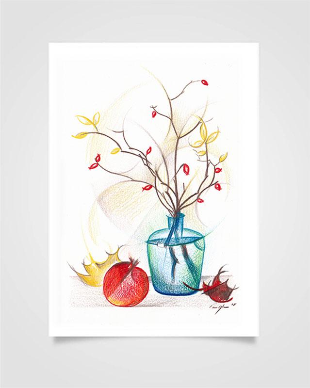 """Flora - Rosa canina"" Pastelli su carta, 14,8 x 21cm"