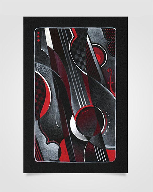 """""""Musica Picta - A. Casella"""" - Tecniche miste su cartoncino nero, 14,8 x 21 cm (2020)"""