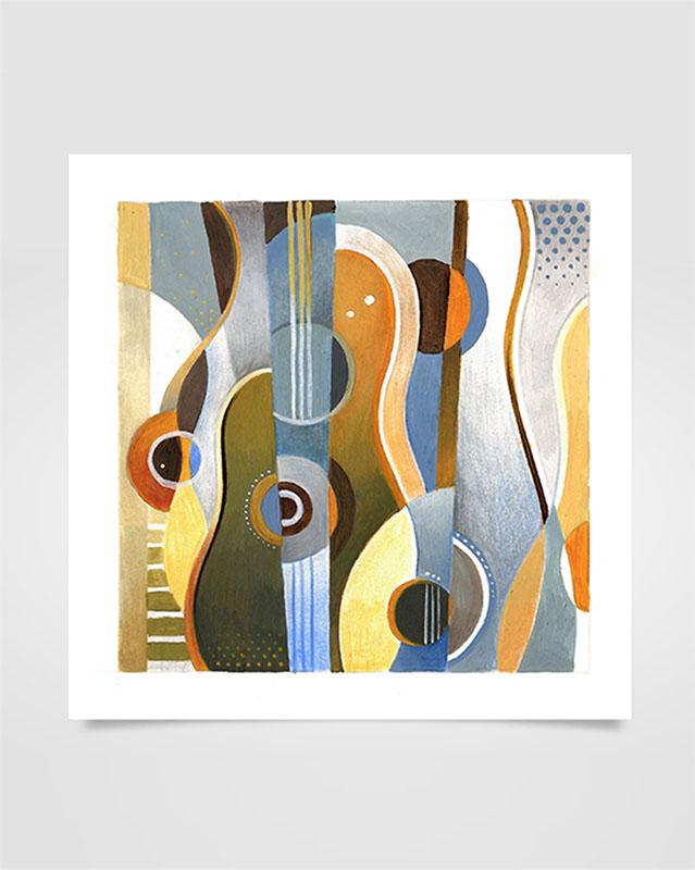 """""""Musica Picta - F. Poulenc"""" - Tecniche miste su carta, 18 x 18 cm (2020)"""