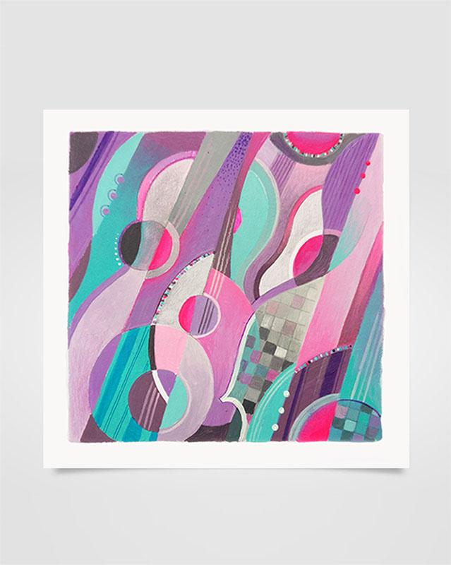"""""""Musica Picta - A. Ginastera"""" - Tecniche miste su carta, 17 x 17 cm (2020)"""