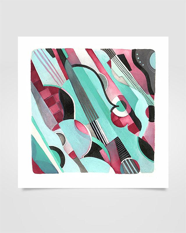 """Musica Picta - J. Ibert"" - Acrilico su carta, 17 x 17 cm (2020)"