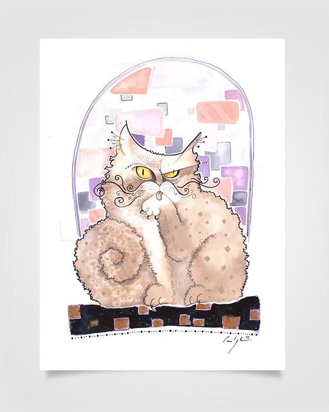"""""""Il gatto dei Suoceri"""" Ecoline su carta (2016) COLLEZIONE PRIVATA"""