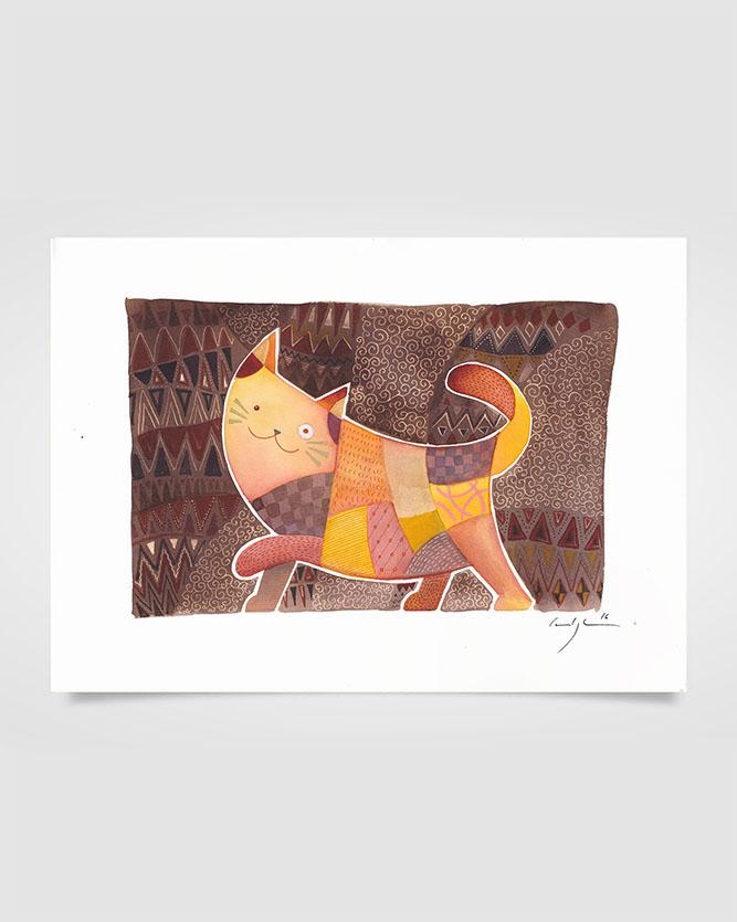 """""""Il gatto tappezziere"""" Ecoline su carta (2016)"""