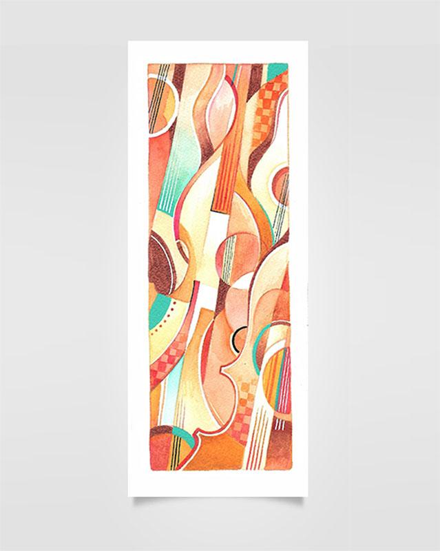 """""""Musica Picta - D. Milhaud"""" - Ecoline su carta, 10 x 25cm (2020)"""