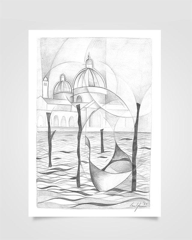 """""""Venezia - Veduta del SS. Redentore"""" Disegno a matita su carta (2021)"""