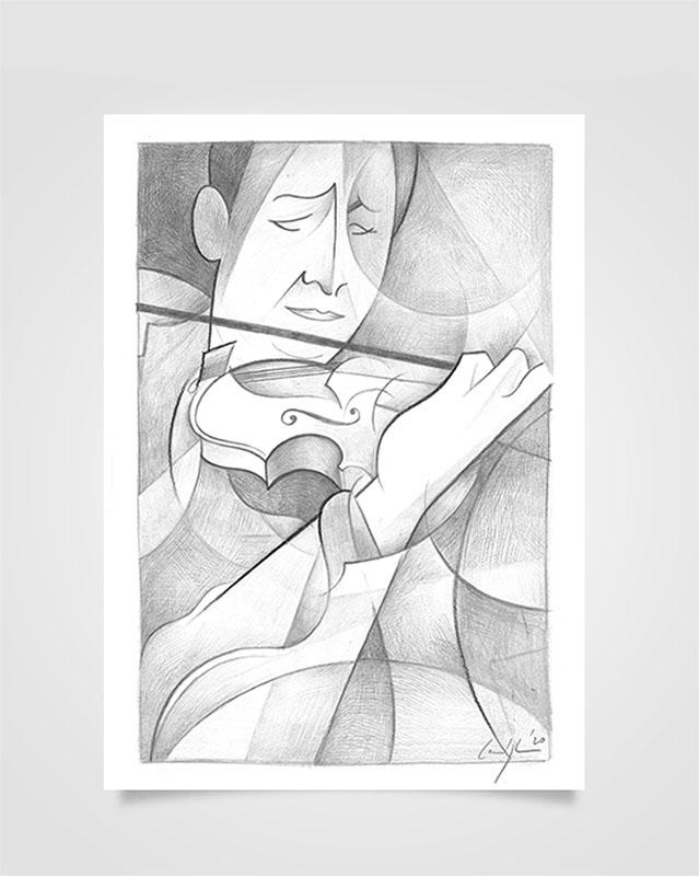 """""""Violinista"""" Disegno a matita su carta (2020)"""