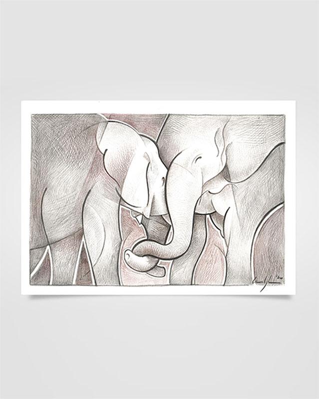 """""""Abbraccio di elefanti"""" Disegno a matita su carta (2021)"""
