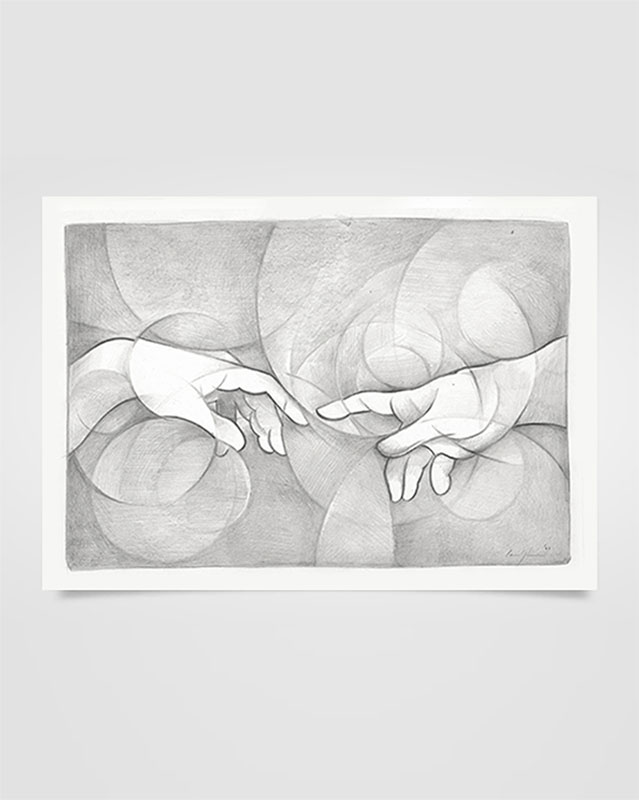 """""""Particolare della creazione di Michelangelo"""" Disegno a matita su carta (2020)"""