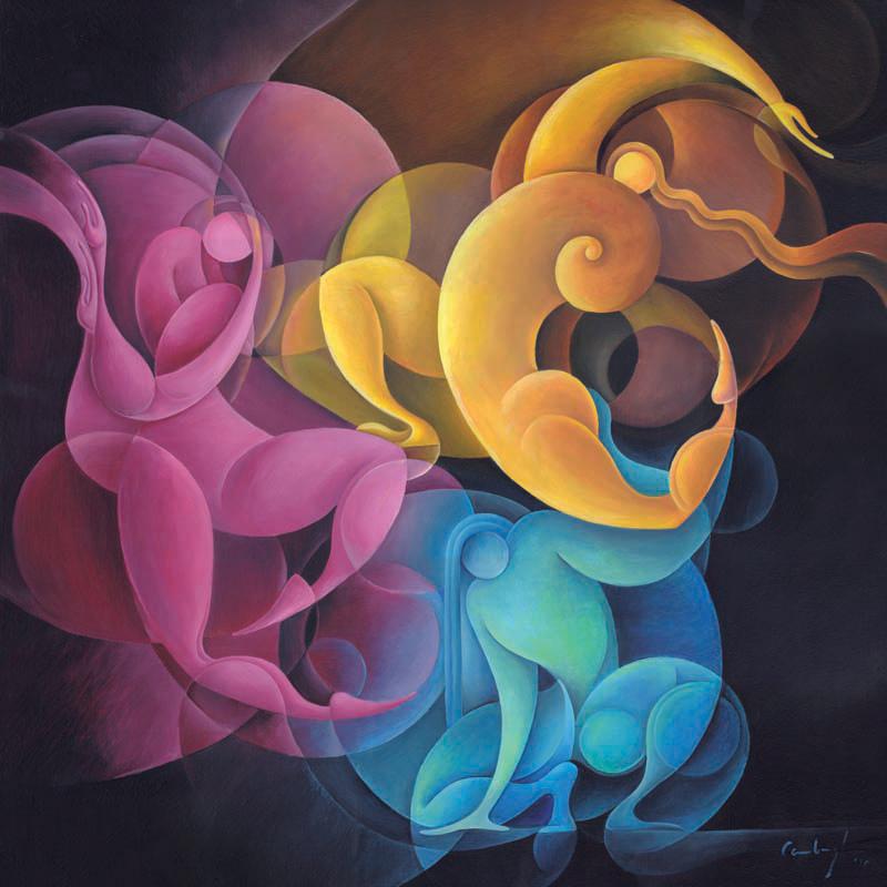 """""""Dinamismo primario""""  Olio su tela, 70 x 70 cm (2010)"""