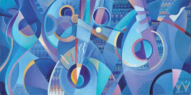"""""""Mandolini blues"""" - Olio su tela, 40 x 80 cm (2016)"""