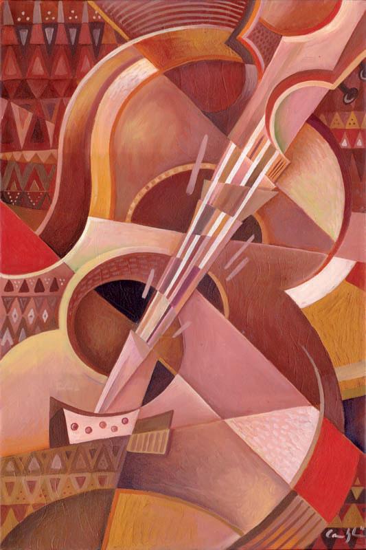 """""""Chitarra Rossa"""" - Olio su tela, 40 x 60 cm (2016)"""