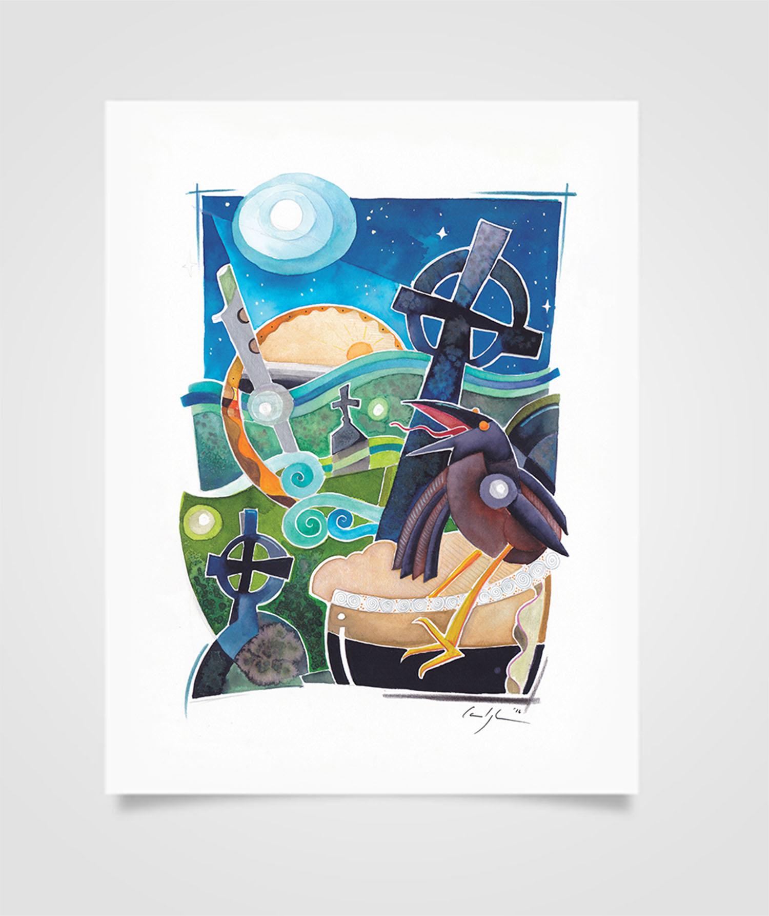 """""""Eire - Notte sulle Aran"""" Tecniche miste su carta, 21 x 29,7 cm (2016) COLLEZIONE PRIVATA"""