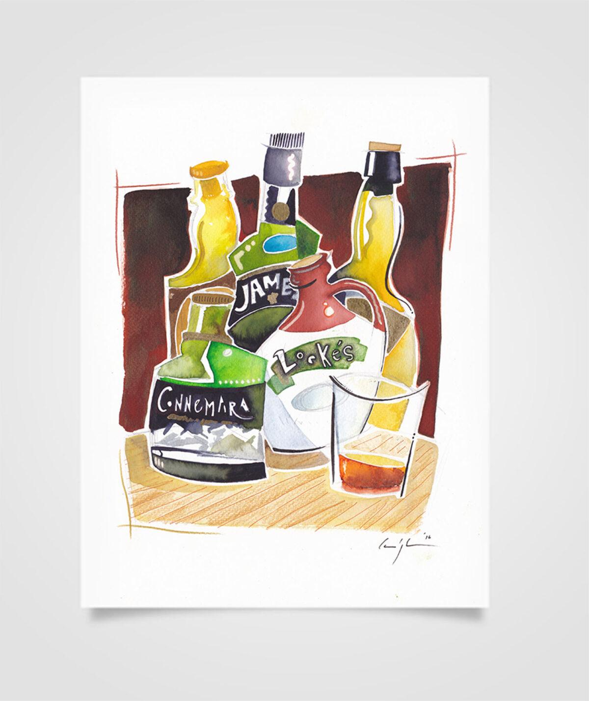 """""""Eire - Typical Drinks"""" Tecniche miste su carta, 21 x 29,7 cm (2016)"""