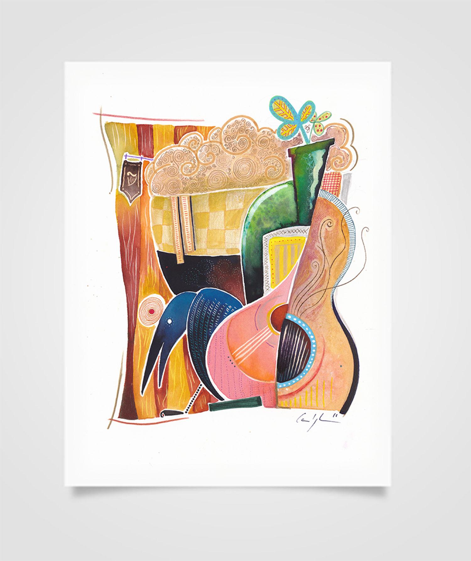 """""""Eire - Corvi nel Pub"""" Tecniche miste su carta, 21 x 29,7 cm (2016)"""